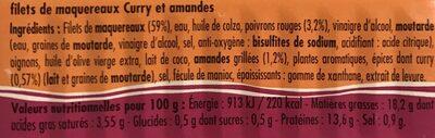 Filets de maquereaux curry et amandes - Ingrédients - fr