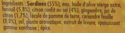 Sardines cuisinées à déguster chaud au citron confit et coriandre - Ingrédients