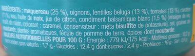 Les salades prêtes à déguster - Maquereau, lentilles beluga au balsamique blanc - Ingrédients - fr