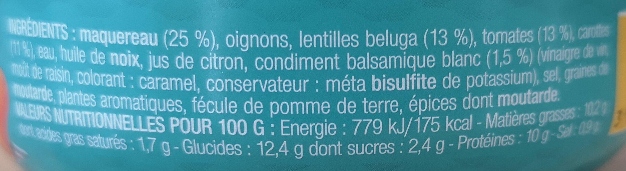 Les salades prêtes à déguster - Maquereau, lentilles beluga au balsamique blanc - Informations nutritionnelles - fr