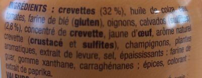 Nos toasts chauds Crevettes au calvados - Ingredients
