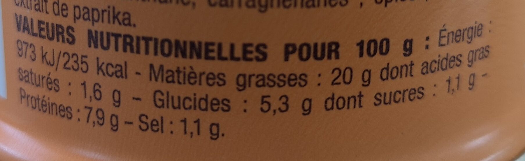 Nos toasts chauds Crevettes au calvados - Nutrition facts