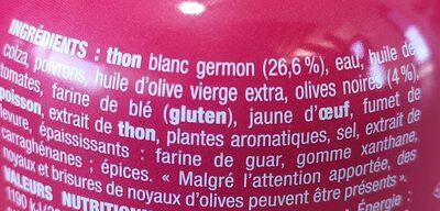 Nos toasts chauds Thon à l'olive noire - Ingredients