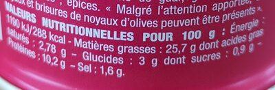 Nos toasts chauds Thon à l'olive noire - Nutrition facts