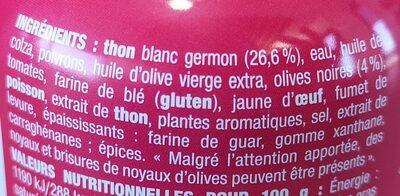 Nos toasts chauds Thon à l'olive noire - Ingrédients