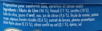 Préparation pour sandwich Lieu, carottes et citron confit - Ingredients
