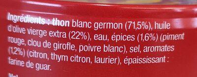 Thon blanc Germon, huile d'olive vierge, épices et aromates - Ingredients