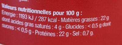 Thon blanc Germon, huile d'olive vierge, épices et aromates - Nutrition facts