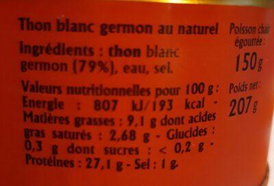 Thon blanc germon au naturel - Ingredienti - fr