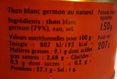 Thon blanc germon au naturel - Valori nutrizionali - fr