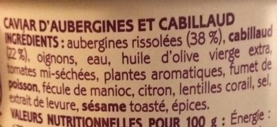 Caviar d'aubergines et cabillaud - Ingredients