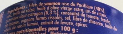 Crème de Saumon rose du Pacifique  à l'estragon - Ingredients
