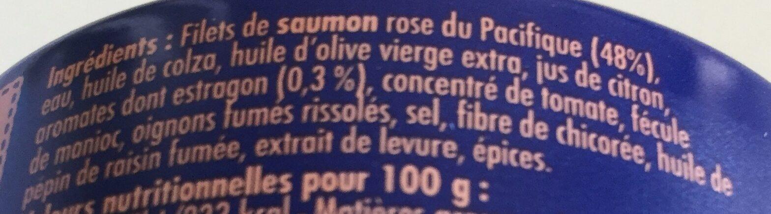 Crème de Saumon rose du Pacifique  à l'estragon - Ingrédients