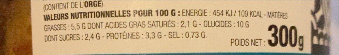 Indie veggie - Informations nutritionnelles - fr