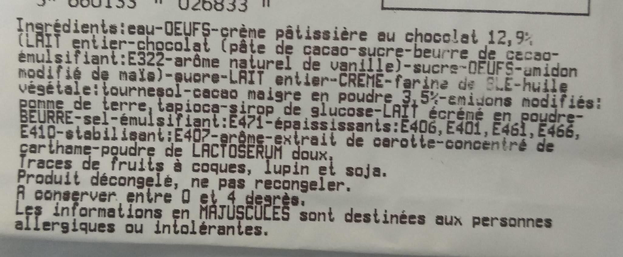 Eclairs au chocolat x2 décongelés - Ingrédients - fr