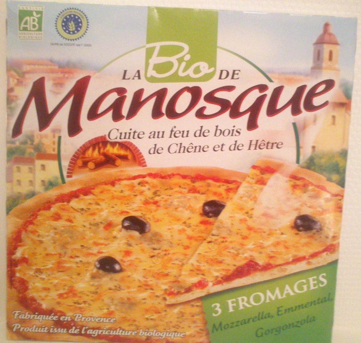 La Bio Pizza 3 Fromages ; Mozzarella, Emmental, Gorgonzola - Produit - fr