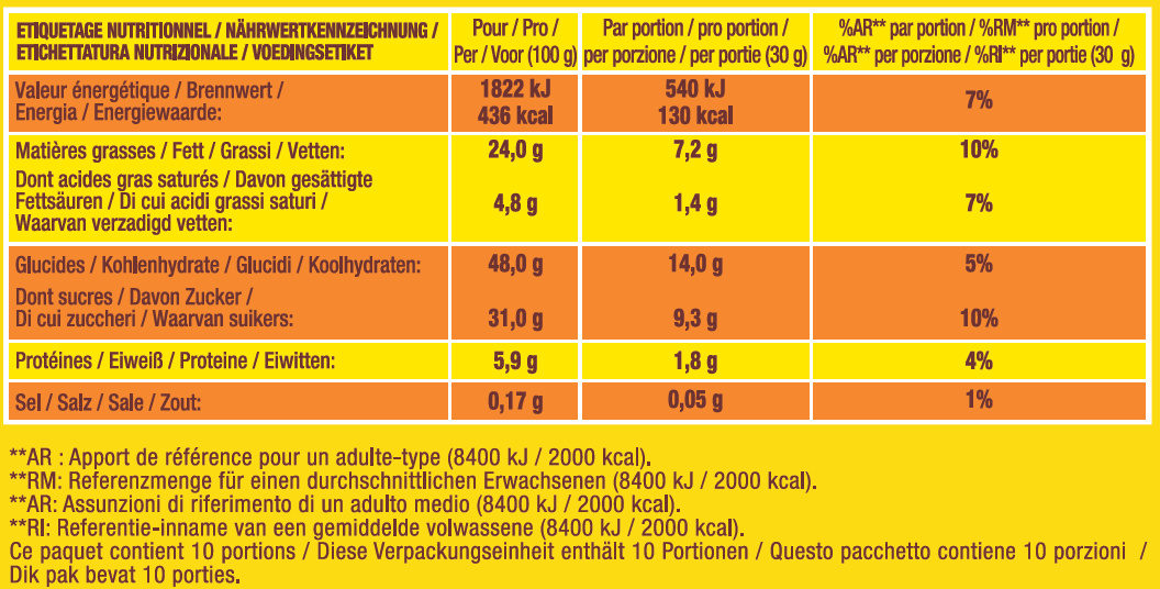 Savane Tout Choco - Nutrition facts