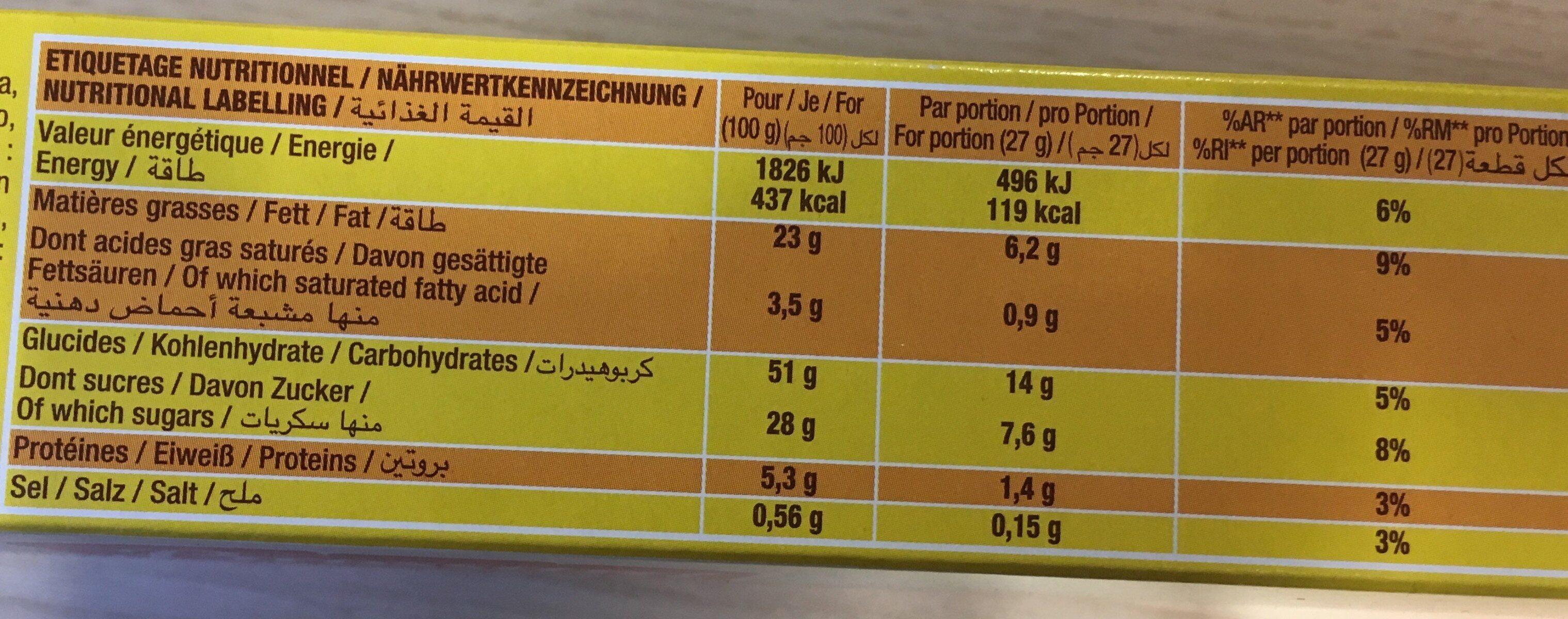 SAVANE POCKET CHOCOLAT NOIR - Informations nutritionnelles - fr