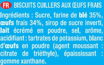 Biscuits à la cuillère pour Pâtisserie Lot de 2 x 36 - Ingrédients