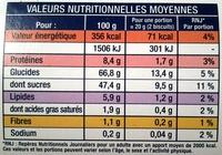 Cuillers Dégustation - Informations nutritionnelles - fr