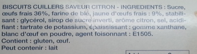 Cuillers Dégustation Saveur Citron - Ingrediënten