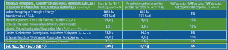 Le Brownie Chocolat Noisettes - Informations nutritionnelles - fr