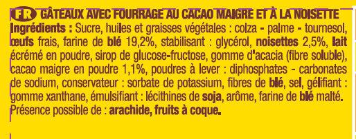 Savane Pocket Fourrage Cacaoté Noisette - Ingrédients - fr