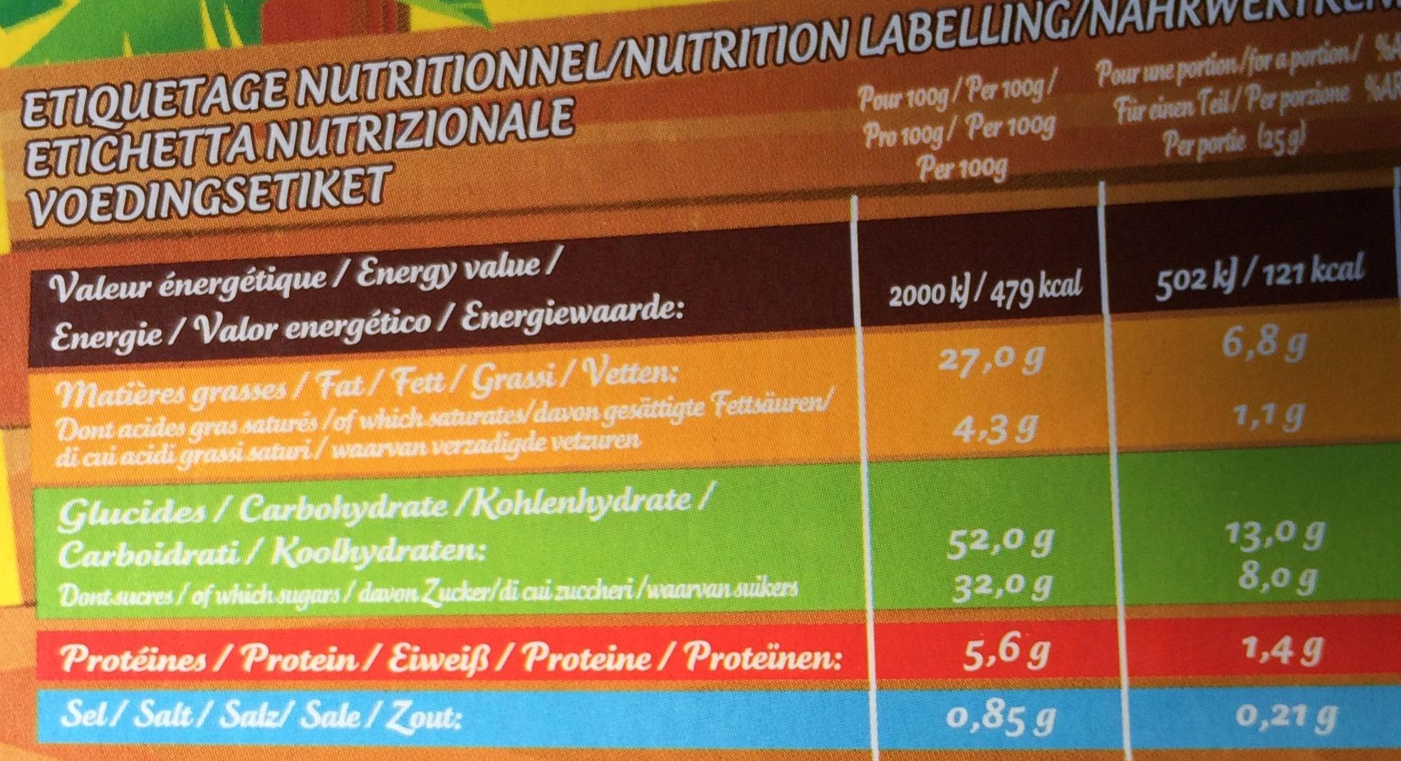 Savane fourrage Cacaoté Noisette - Nutrition facts
