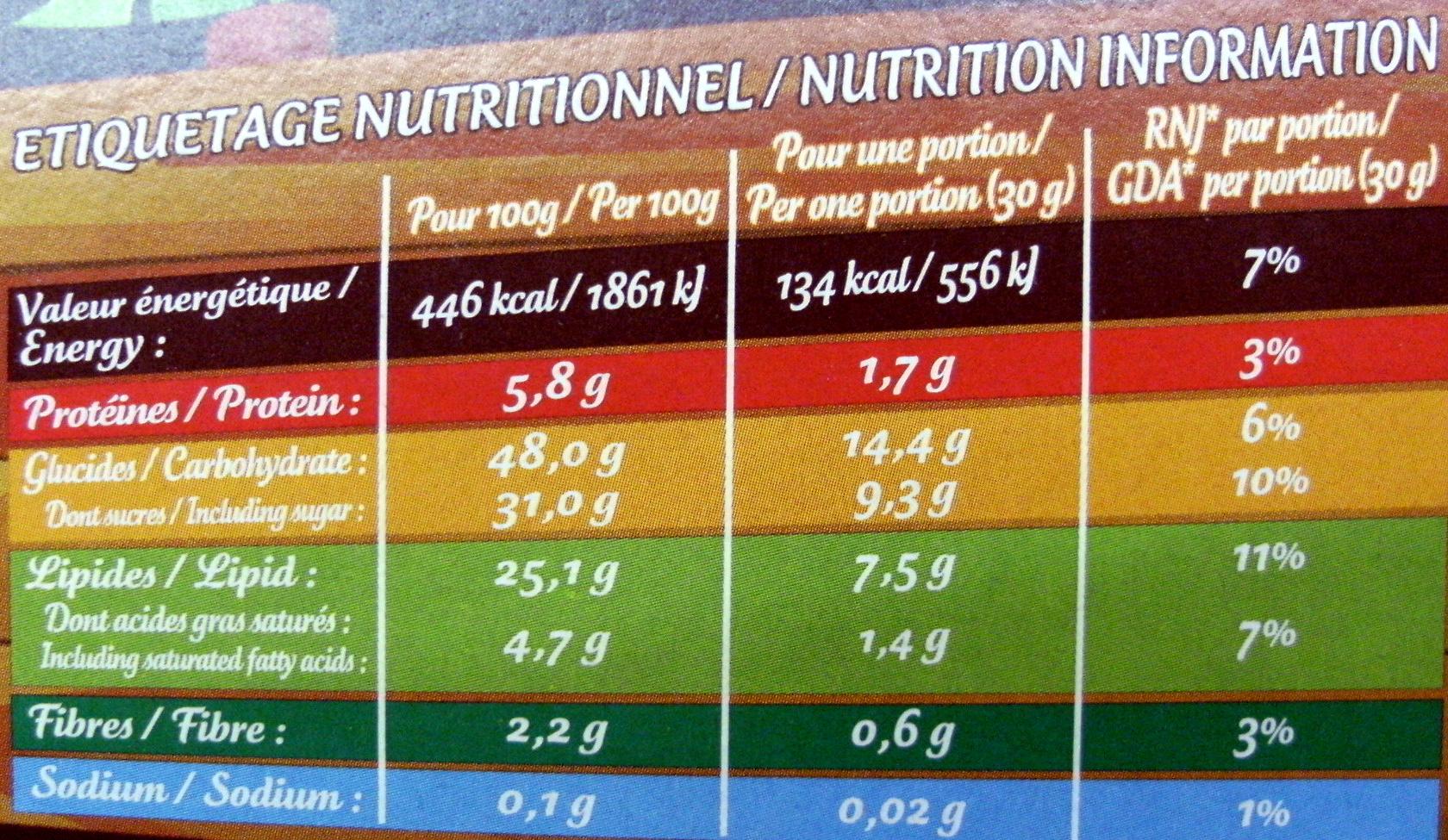 Brossard Savane tout chocolat - Informations nutritionnelles - fr