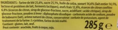 Le cake citron - Ingredients