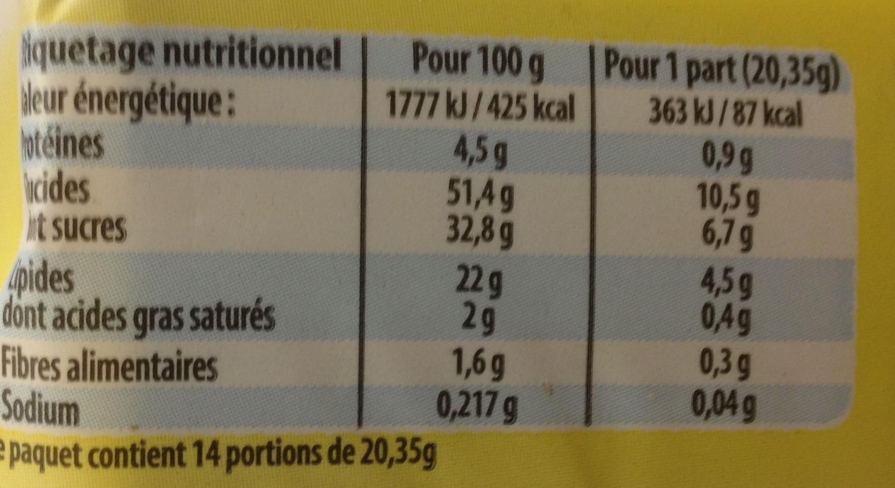 Le cake citron - Nutrition facts
