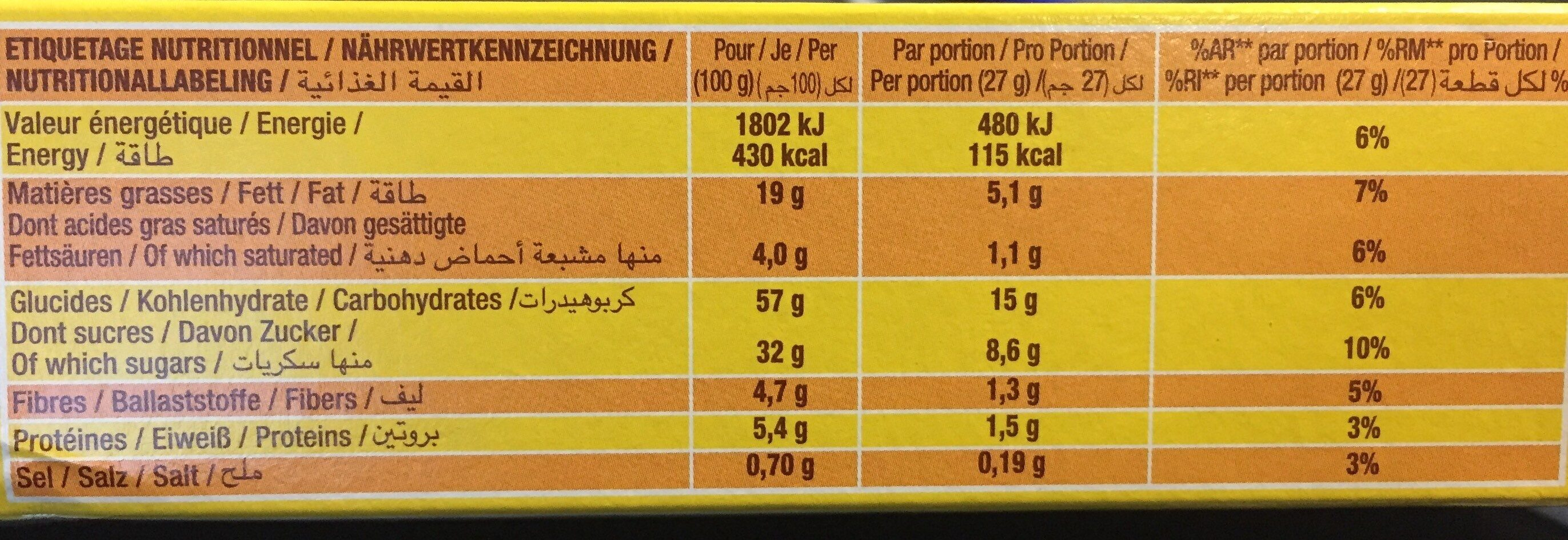 Savane pocket tout chocolatx 7 189g - Voedingswaarden - fr