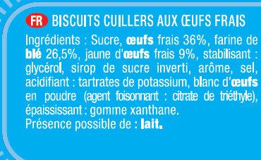 Biscuits à la cuillère - Ingrédients - fr