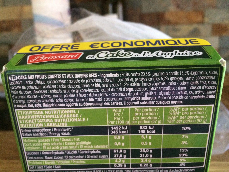 Le Cake à l'anglaise - Informations nutritionnelles - fr