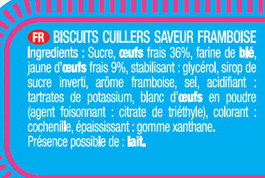 Biscuits à la Cuillère pour Dégustation - Saveur Framboise - Ingrédients - fr
