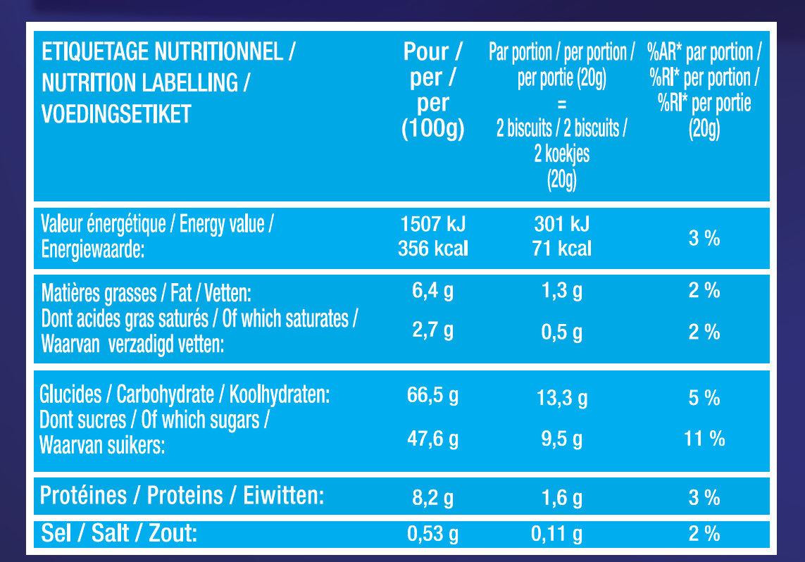 Biscuits à la Cuillère pour Dégustation - Saveur Framboise - Informations nutritionnelles - fr