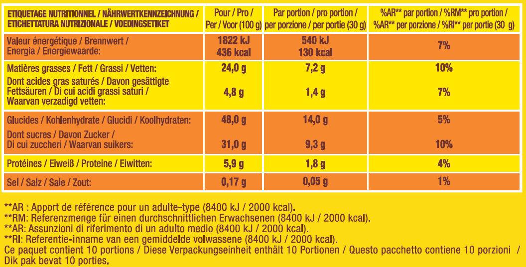 Savane Tout Chocolat 2 +1 offert - Voedingswaarden