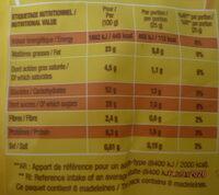 Savane madeleines marbrées - Informations nutritionnelles - fr
