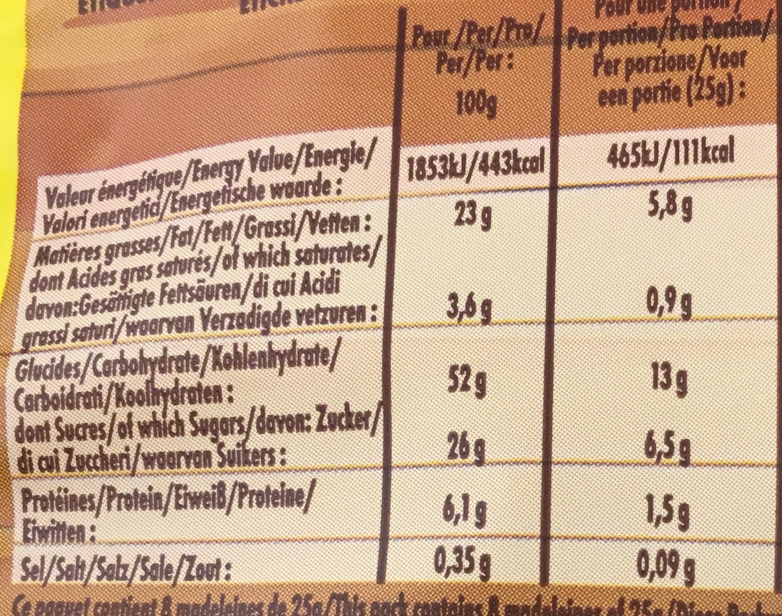 Savane Madeleines Pépit' - Informations nutritionnelles - fr