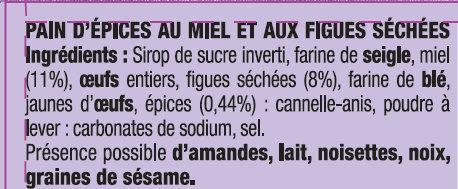 Le Petit Pain d'Epices aux Figues - Ingrédients - fr
