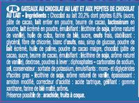 Le Brownie Pocket Choco Lait - Ingrédients - fr