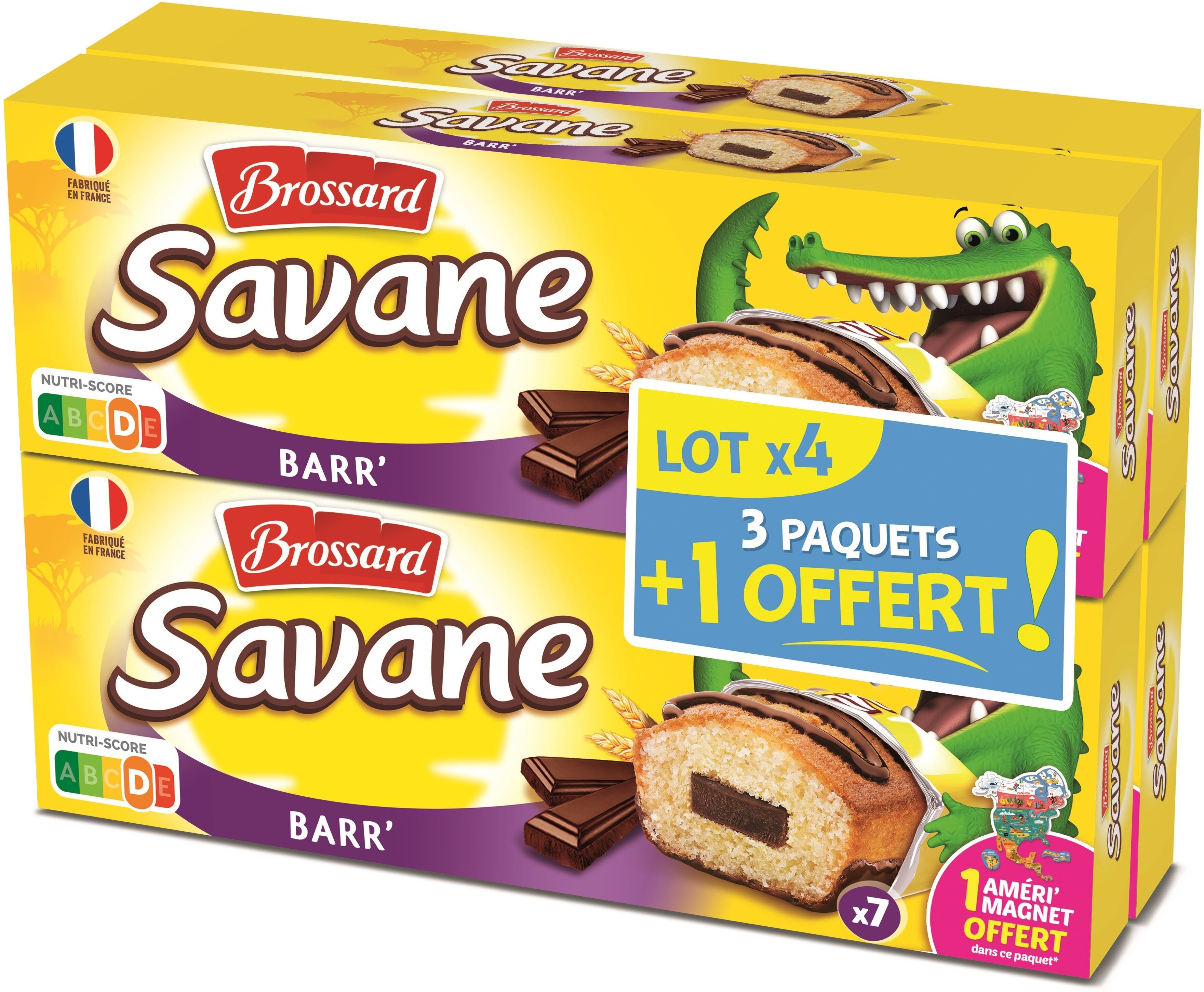 Brossard - lot de 3 savane pocket x 7 barr' chocolat + 1 paquet offert - 756gr - Product - fr