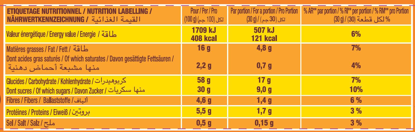 P'tit Savane Gâteau fourré Chocolat - Voedingswaarden - fr