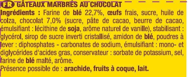 SAVANE POCKET CHOCOLAT - Ingrédients - fr