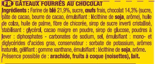 Savane - Gâteaux fourrés au chocolat - Ingredients - fr