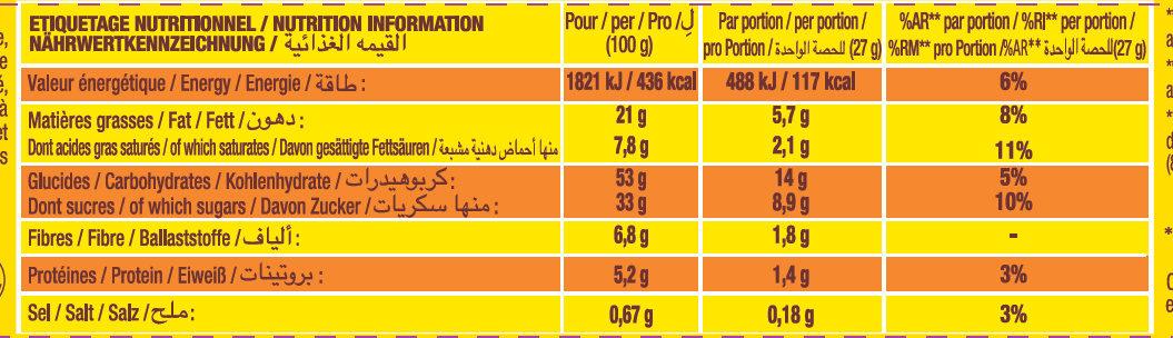 Savane - Gâteaux fourrés au chocolat - Nutrition facts - fr
