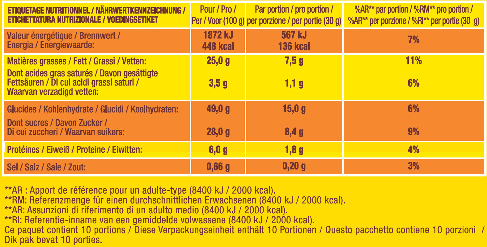 Savane le classique x2 - Voedingswaarden - fr
