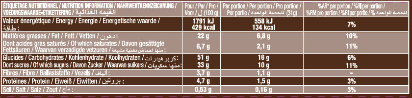 Crac & Moi Framboise - Voedingswaarden