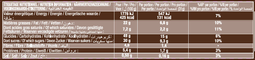 Crac & Moi Tout Chocolat - Informations nutritionnelles - fr