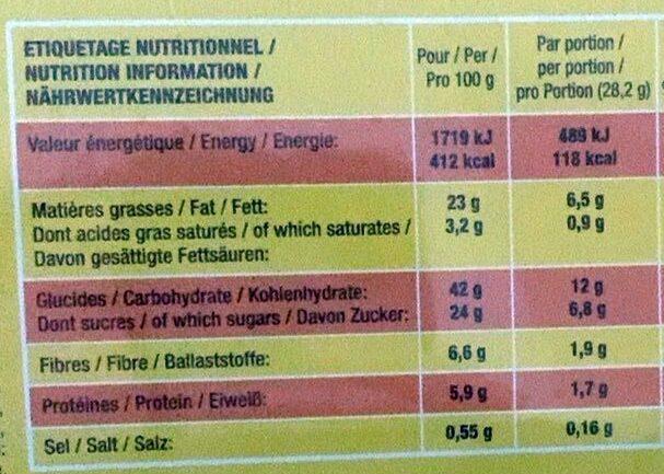 Brossard - lot de 2 savane chocolat noir 310g - Voedingswaarden - fr